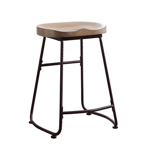 Parker 24-Inch Counter Height Stool in Driftwood with Dark Bronze Metal