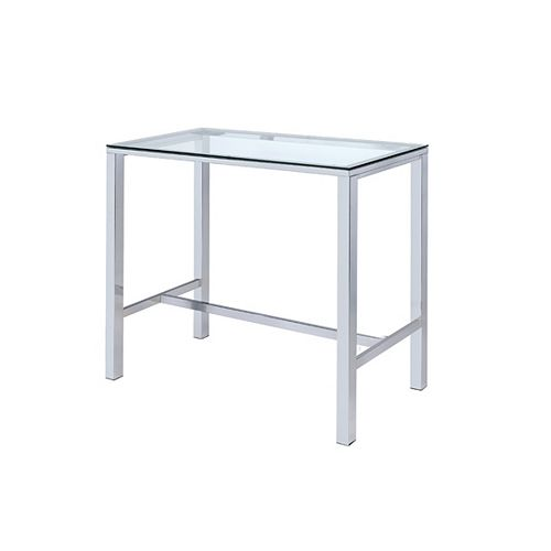 Sky Bar Table with Tempered Glass in Chrome