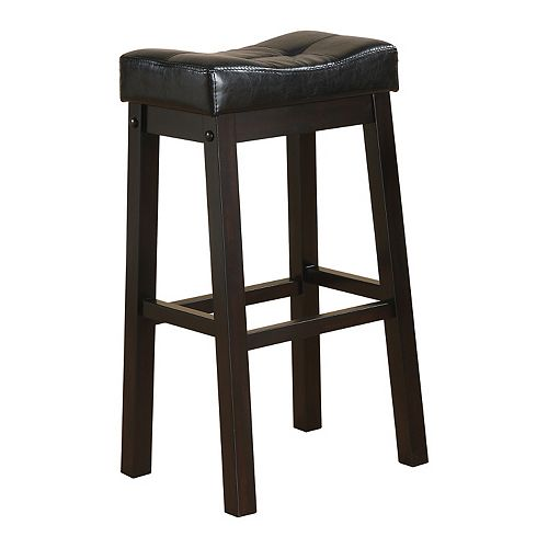 Cassidy 29-Inch Bar Stool in Black Leatherette with Cappuccino (Set of 2)