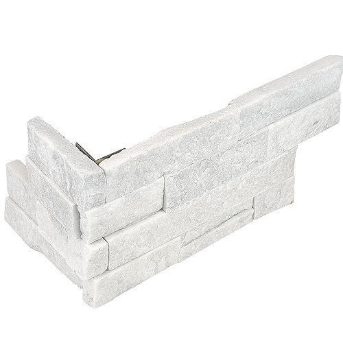 Enigma Carreau d'angle assemblé Arctic Bianco, 6 po x 18 po, 6 morceaux/caisse, pierre de ledger