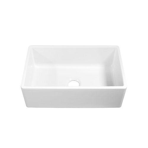 Bradstreet II Farmhouse/Apron-Front Fireclay 30 in. Single Bowl Kitchen Sink in Crisp White