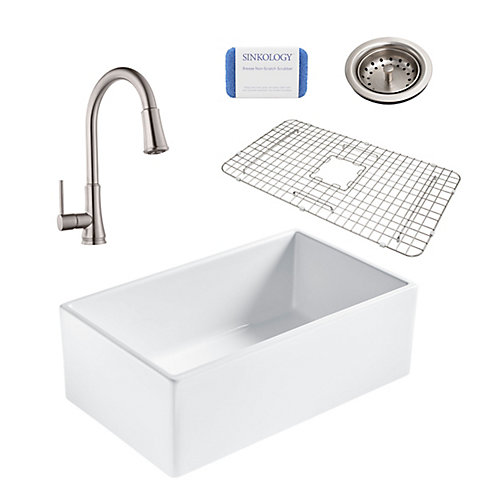 Bradstreet II Farmhouse Fireclay 30 in. Single Bowl Kitchen Sink, Pfister Pfirst Faucet and Drain