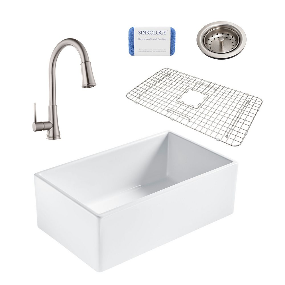 Sinkology Bradstreet II Farmhouse Fireclay 30 in. Single Bowl Kitchen Sink, Pfister Pfirst Faucet and Drain