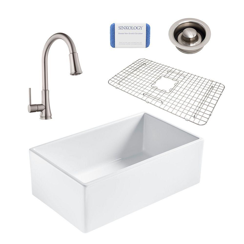Sinkology Bradstreet II Farmhouse Fireclay 30 in. Single Bowl Kitchen Sink, Pfister Pfirst Faucet and Disposal
