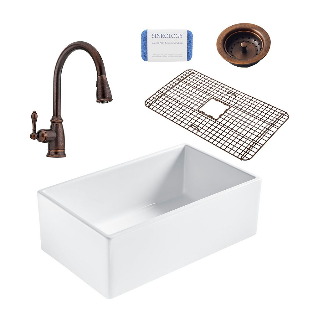 Sinkology Bradstreet II Farmhouse Fireclay 30 in. Single Bowl Kitchen Sink, Pfister Canton Faucet and Drain