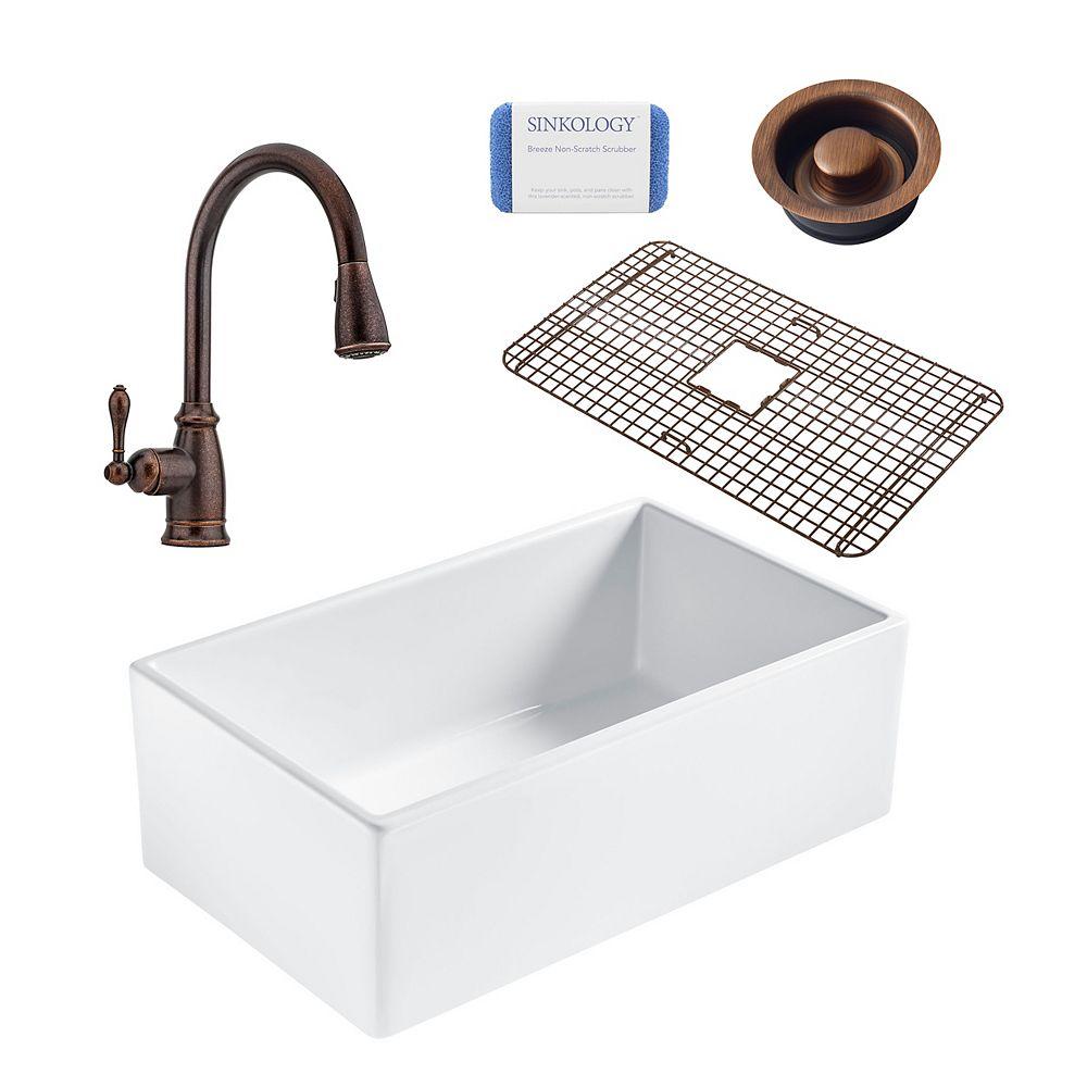 Sinkology Bradstreet II Farmhouse Fireclay 30 in. Single Bowl Kitchen Sink, Pfister Canton Faucet and Disposal