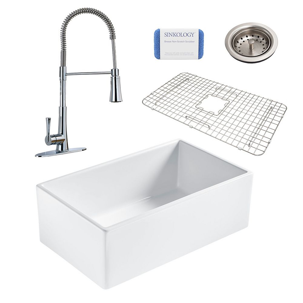 Sinkology Bradstreet II Farmhouse Fireclay 30 in. Single Bowl Kitchen Sink, Pfister Zuri Faucet and Drain