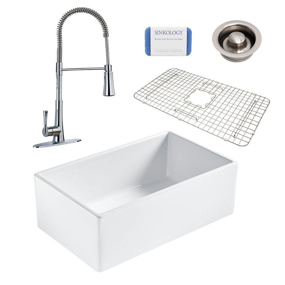 Sinkology Bradstreet II Farmhouse Fireclay 30 in. Single Bowl Kitchen Sink, Pfister Zuri Faucet and Disposal