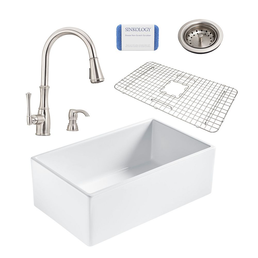 Sinkology Bradstreet II Farmhouse Fireclay 30 in. Single Bowl Kitchen Sink, Pfister Wheaton Faucet and Drain