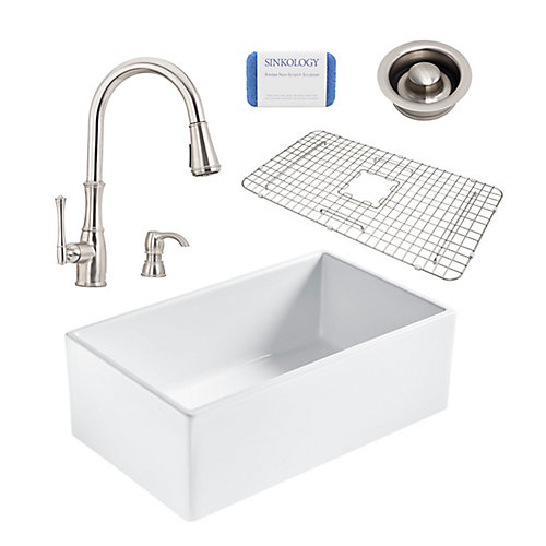 Bradstreet II Farmhouse Fireclay 30 in. Single Bowl Kitchen Sink, Pfister Wheaton Faucet, Disposal