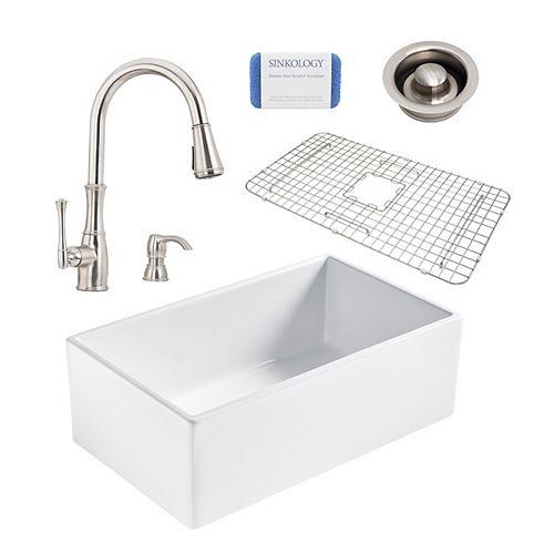 Bradstreet II Farmhouse Fireclay 30 in. Single Bowl Kitchen Sink, Pfister Wheaton Faucet, Disposal