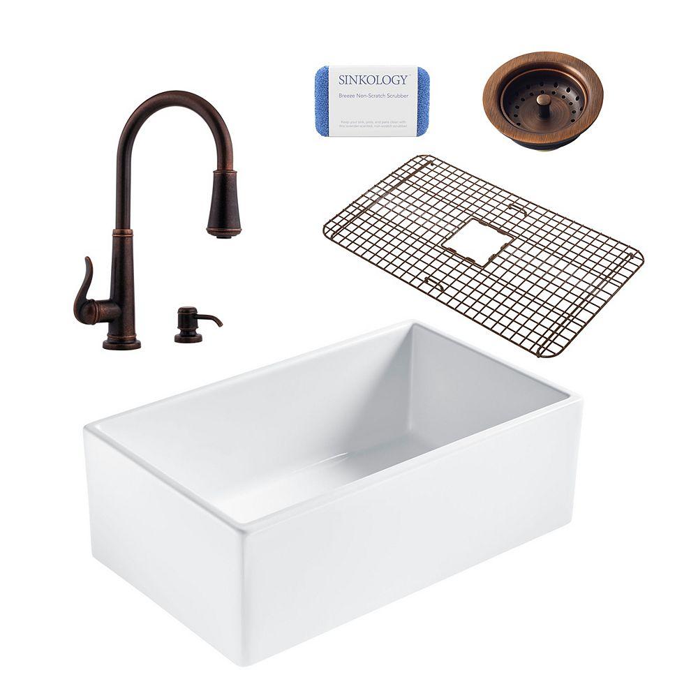 Sinkology Bradstreet II Farmhouse Fireclay 30 in. Single Bowl Kitchen Sink, Pfister Ashfield Faucet and Drain