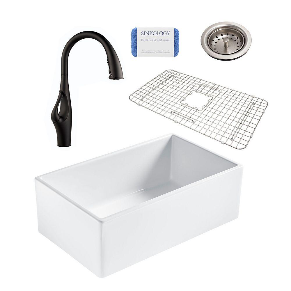 Sinkology Bradstreet II Farmhouse Fireclay 30 in. Single Bowl Kitchen Sink, Pfister Kai Faucet and Drain