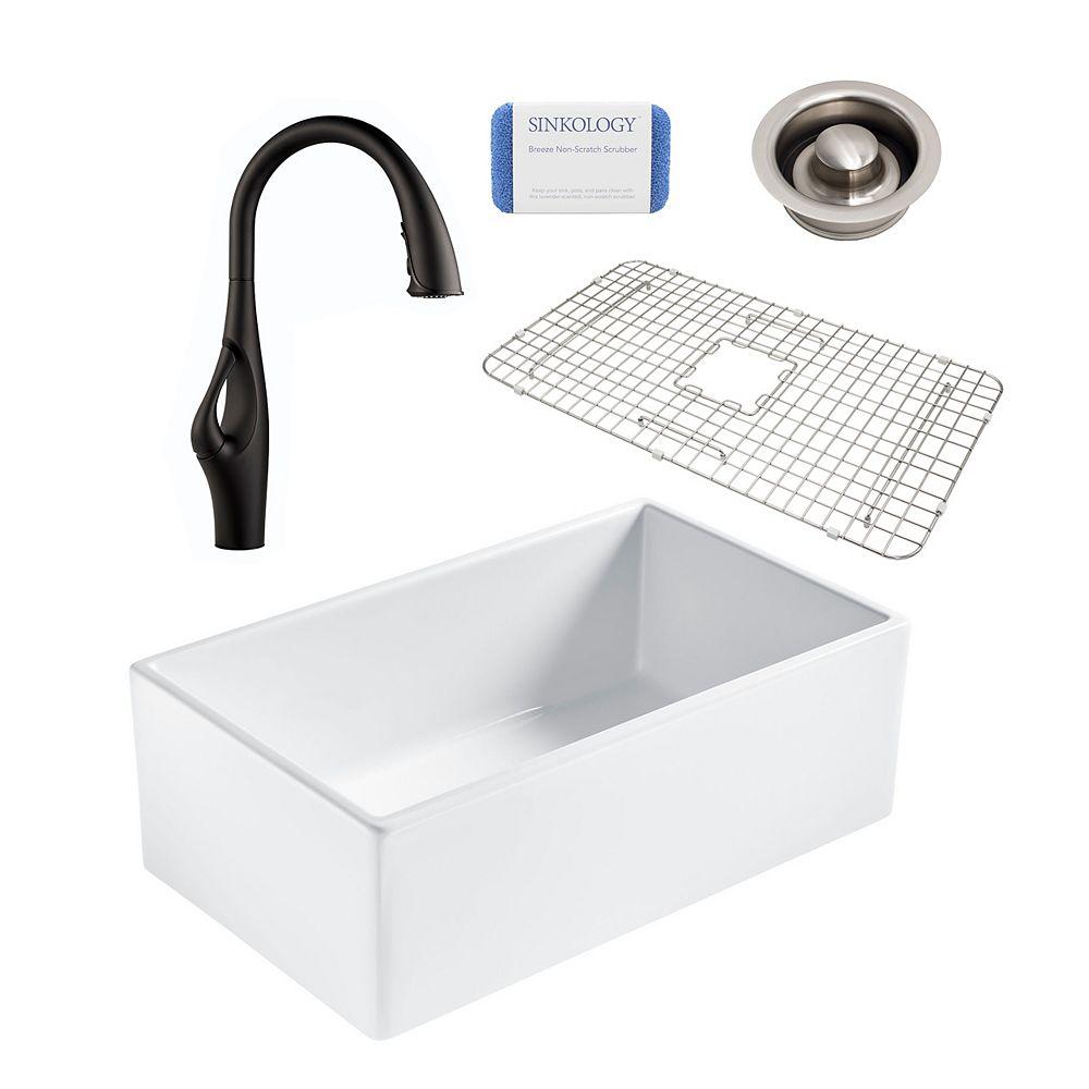 Sinkology Bradstreet II Farmhouse Fireclay 30 in. Single Bowl Kitchen Sink, Pfister Kai Faucet, Disposal