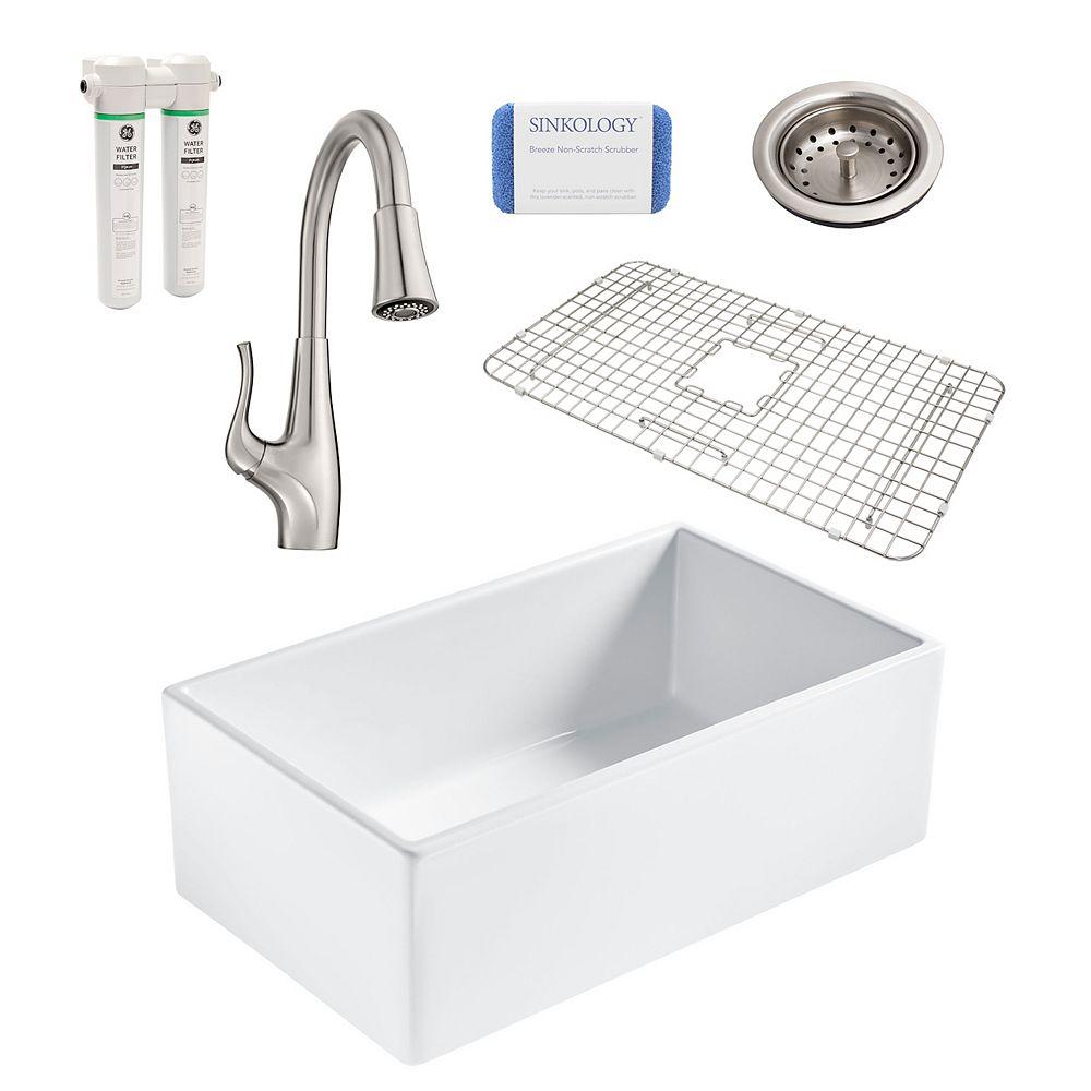 Sinkology Bradstreet II Farmhouse Fireclay 30 in. Single Bowl Kitchen Sink, Pfister Clarify Faucet and Drain