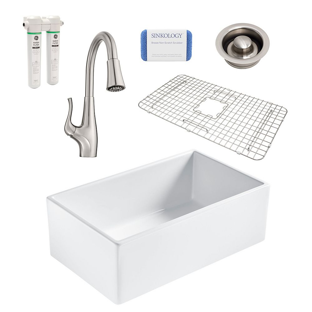 Sinkology Bradstreet II Farmhouse Fireclay 30 in. Single Bowl Kitchen Sink, Pfister Clarify Faucet, Disposal