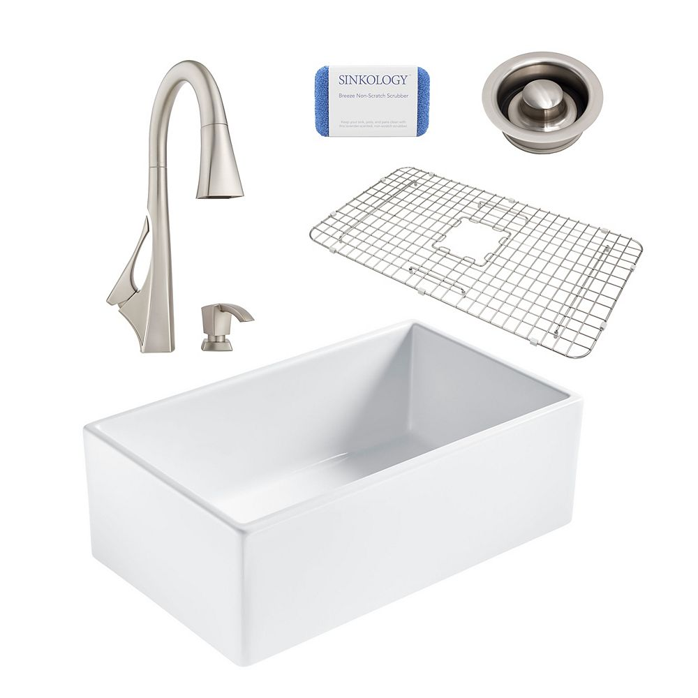 Sinkology Bradstreet II Farmhouse Fireclay 30 in. Single Bowl Kitchen Sink, Pfister Venturi Faucet, Disposal