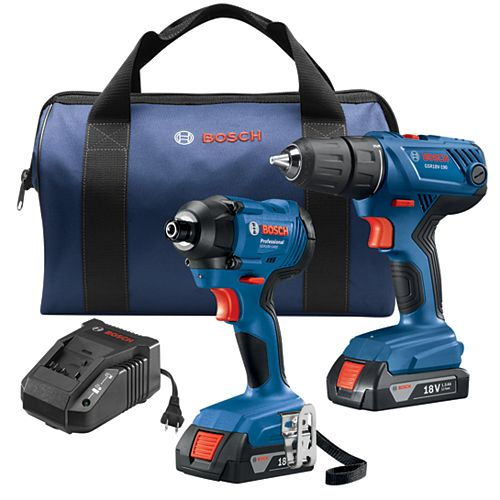 18V 2-Tool Combo Kit with 1/2-inch Compact Drill/Driver & 1/4-inch Hex Impact Driver