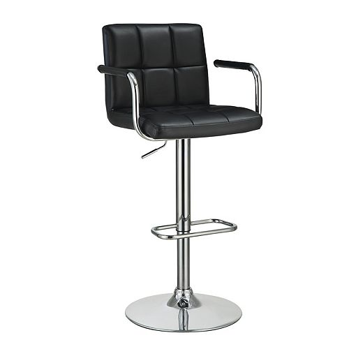 Adjustable Bar Stool with Arms in Black