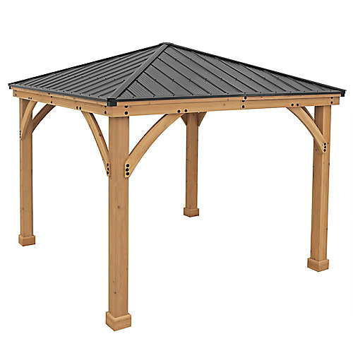 Meridian 10 ft. x 10 ft. Wooden Gazebo with Aluminum Roof