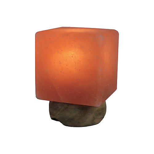 Small Himalayan Salt Lamp Sculpted in Cube Shape
