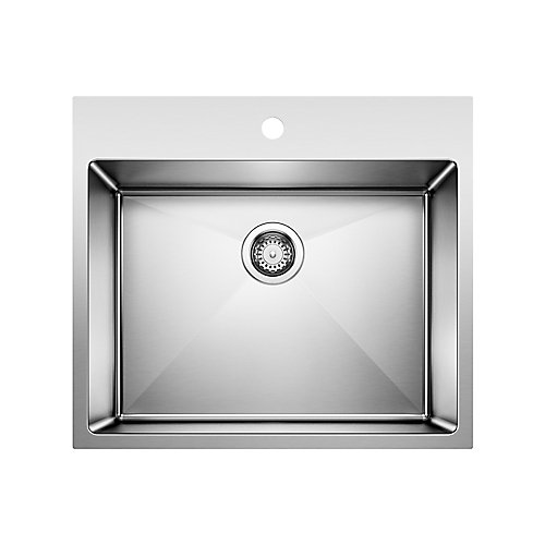 QUATRUS R15 LAUNDRY, Single Bowl Undermount or Drop-in (Dual-mount) Sink, Stainless Steel