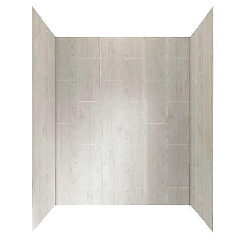 Système de paroi de douche de 60 po X 32 po en bois flotté gris