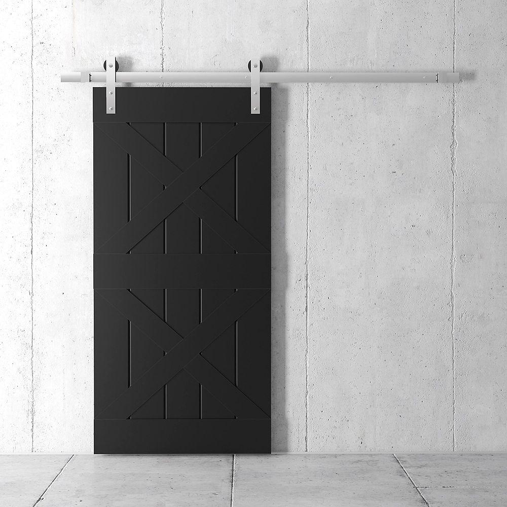 URBAN WOODCRAFT Deux X Kit de porte de grange 83 x 40 po avec quincaillerie, espresso classique