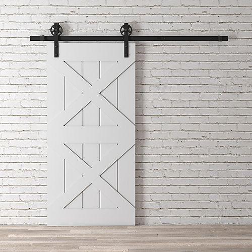 Deux X Kit de porte de grange 83 x 40 po avec quincaillerie, gris classique