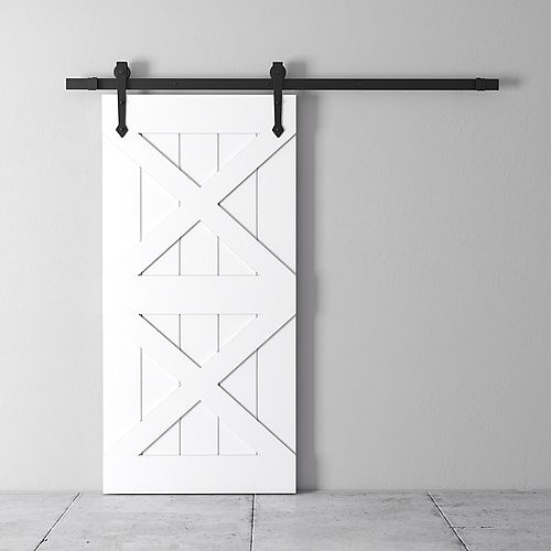 URBAN WOODCRAFT Deux X Kit de porte de grange 83 x 40 po avec quincaillerie, blanc