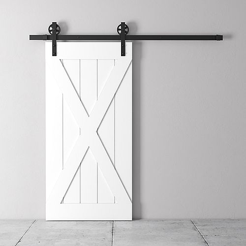 83x40 Inch Tall X Barn Door Kit with Hardware in White