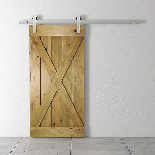 83x40 Inch Tall X Barn Door Kit with Hardware in Natural
