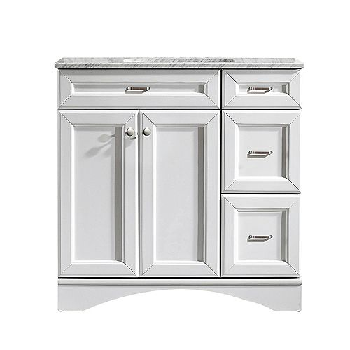 Naples 36 inch Vanity in White with Carrara White Marble Countertop Without Mirror