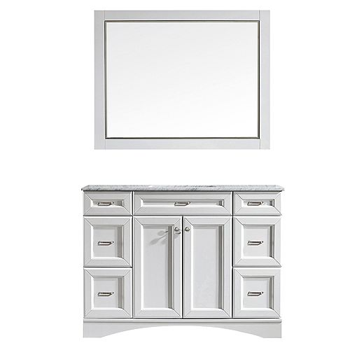 Naples 48 inch Vanity in White with Carrara White Marble Countertop With Mirror