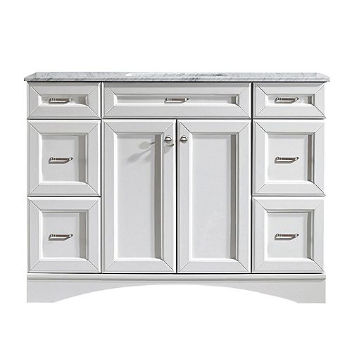 Naples 48 inch Vanity in White with Carrara White Marble Countertop Without Mirror