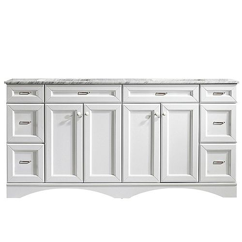 Naples 72 inch Vanity in White with Carrara White Marble Countertop Without Mirror