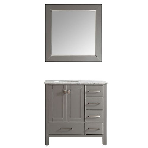 Gela 36 inch Single Vanity in Grey with Carrara White Marble Countertop With Mirror