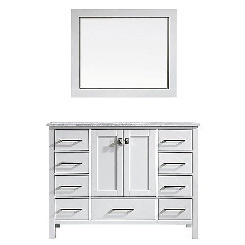 Gela 48 inch Single Vanity in White with Carrara White Marble Countertop With Mirror