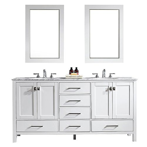 Gela 72 inch Double Vanity in White with Carrara White Marble Countertop With Mirror