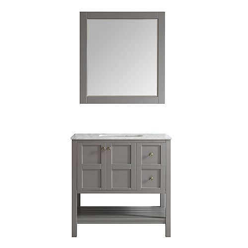 Florence 36 inch Single Vanity in Grey with Carrara White Marble Countertop With Mirror