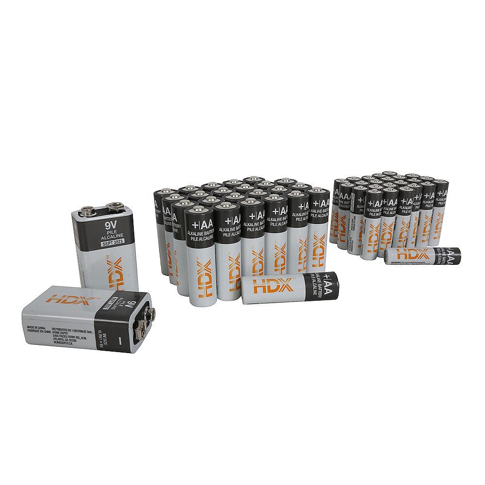 HDX 50 Pcs Alkaline Battery Combo Pack (Includes 24 x AA, 24 x AAA, 2 x 9V)