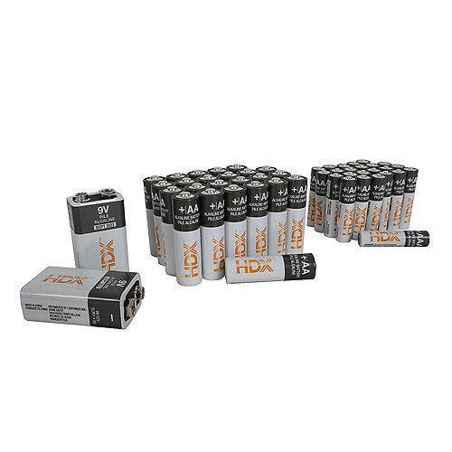 50 Pcs Alkaline Battery Combo Pack (Includes 24 x AA, 24 x AAA, 2 x 9V)