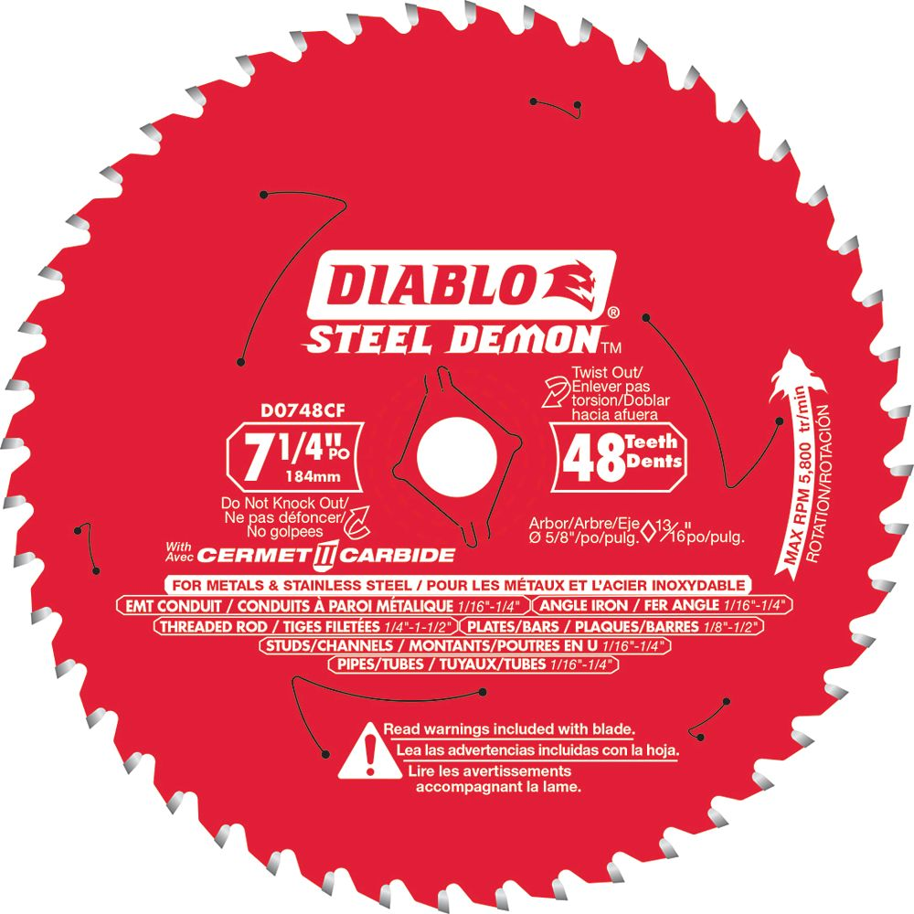 Diablo 7-1/4 inch Cermet Blade for Cutting Ferrous Metals and Stainless Steel