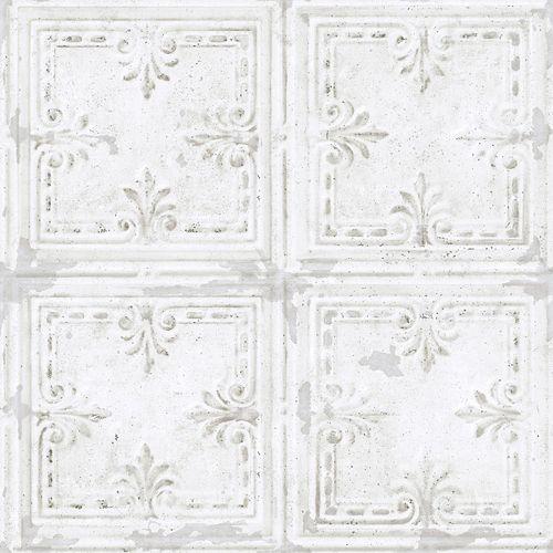 TIN TILE WHITE PEEL & STICK WALLPAPER