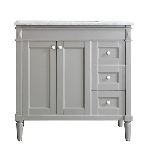 Catania 36 inch Vanity in Grey with Carrara White Marble Countertop Without Mirror
