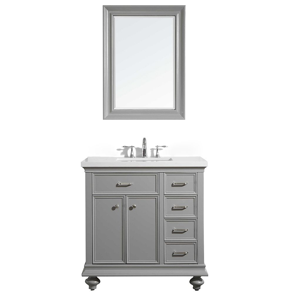 Vinnova Charlotte 36 inch Vanity in Grey with Carrara Quartz Stone Top With Mirror