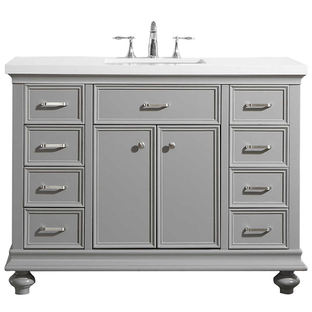 Vinnova Charlotte 48 inch Vanity in Grey with Carrara Quartz Stone Top Without Mirror