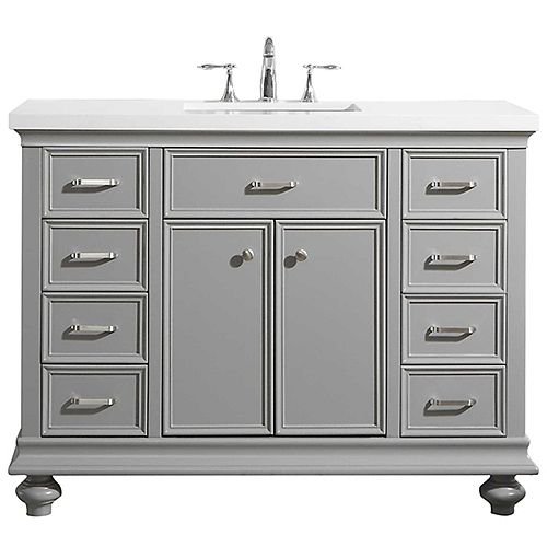 Charlotte 48 inch Vanity in Grey with Carrara Quartz Stone Top Without Mirror