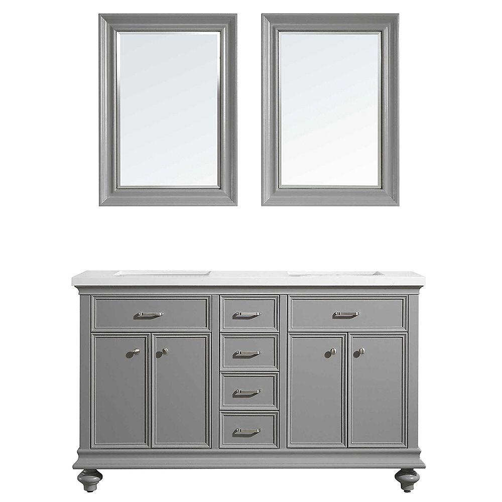 Vinnova Charlotte 60 inch Double Vanity in Grey with Carrara Quartz Stone Top With Mirror