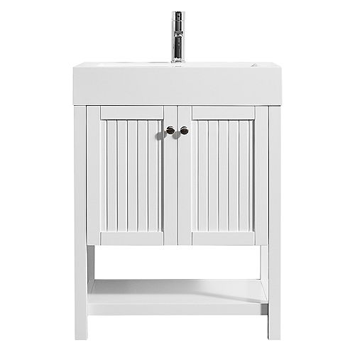 Pavia 28 inch Single Vanity in White with Acrylic under-mount Sink Without Mirror